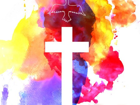 39468322 - colorful abstract background with cross and a bird